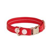 犬用 首輪 革 わいろ オリジナル スムース カラー ステッチ バックル 赤+サクラ 日本製