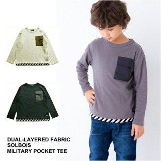 [SALE20%OFF] 【SOLBOIS ソルボワ】接結天竺 ミリタリーポケットTシャツ  80-120