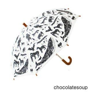 【chocolatesoup チョコレートスープ】GEOMETRY UMBRELLA WHITE アニマル柄 おとな用 60cm