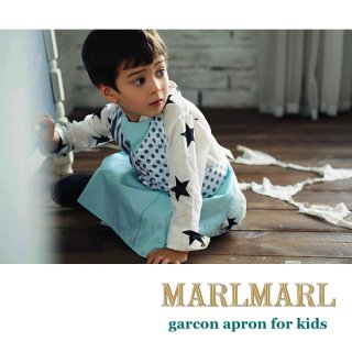 【MARLMARL/マールマール】garcon apron/slash stripe/yelloe flower kids
