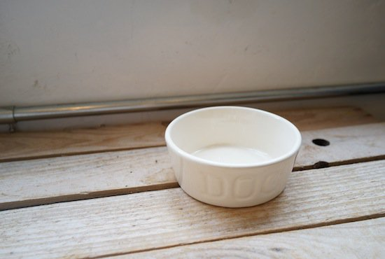 BAUER POTTERY DOGBOWL・ホワイト