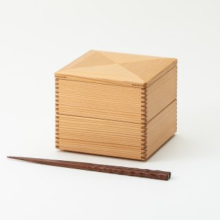 黒木クラフト工房・みやざき杉の二段重4寸(13.5×13.5cm)