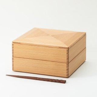 黒木クラフト工房・みやざき杉の二段重7寸(22.5×22.5cm)