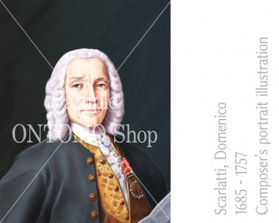 作曲家の肖像画イラスト/D.スカルラッティ