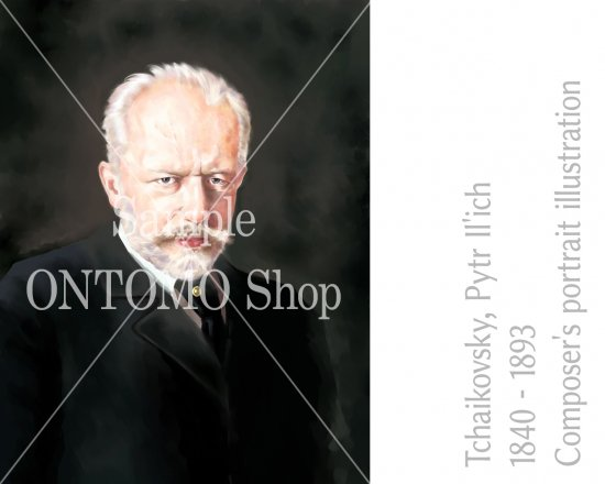 作曲家の肖像画イラスト/チャイコフスキー