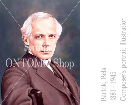 作曲家の肖像画イラスト/バルトーク