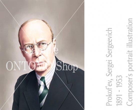 作曲家の肖像画イラスト/プロコフィエフ