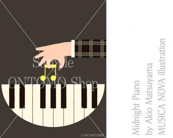 音楽イラスト素材 〜 真夜中のピアノ