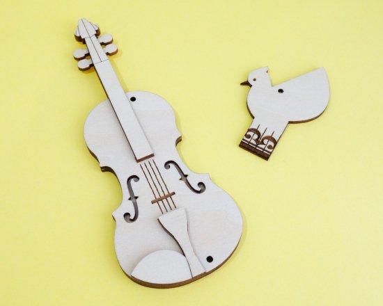 音楽と鳥のオーナメント・キット(弦楽器)