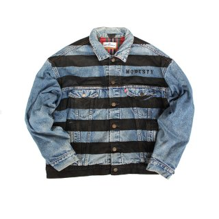 Hand Dye US Denim Trucker Jacket_Flannel Lined