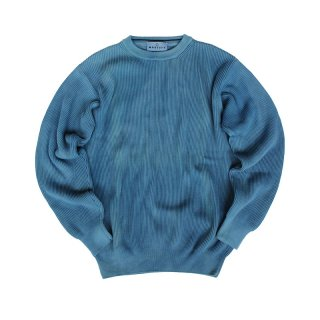 Hand Dye Cotton Rib Knit Sweater_Aizome