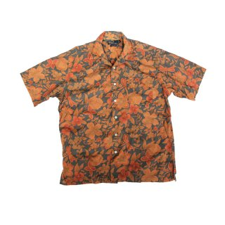 Over Dye Floral Pattern Open Collar Shirt