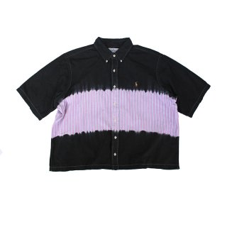 Hand Dye Custom made Stripe Wide BD Shirt_Shibori