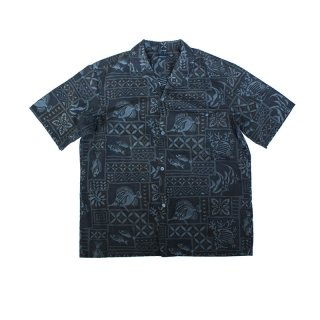 Over Dye Open Collar Fish Pattern Shirt