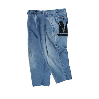 Hand Dye Custom made 1tuck Denim Trousers PT