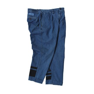 Hand Dye Custom made 2tuck Denim Trousers PT