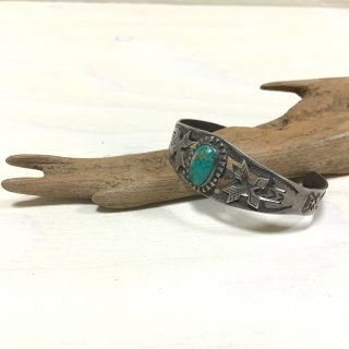40's cross arrow patched vintage turquoise bangle