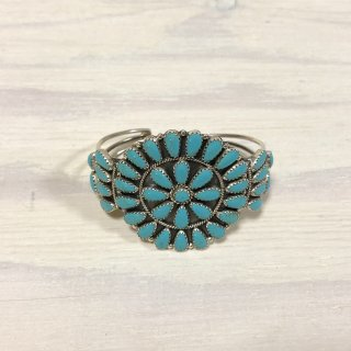 Navajo Flower Cuff Bangle  silver turquoise