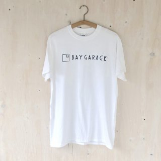 BAY GARAGE Printed T <br>New Logo<br> White x Black Printed