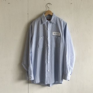 BAY GARAGE Work Shirts<br>Long Sleeve <br> blue x white