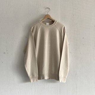BAYGARAGE  Pullover Crew Neck <br> Coast Life + Good Times <br>Sand x White Printed