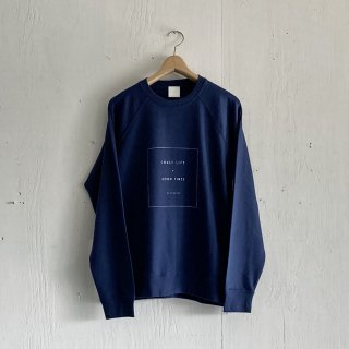 BAYGARAGE  Pullover Crew Neck <br> Coast Life + Good Times <br>Navy x White Printed