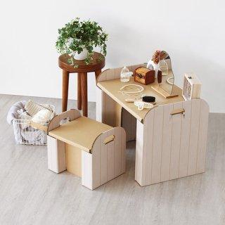 ダンボールの机&イス(木目)