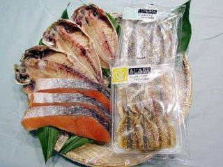 塩銀鮭、 あじ開きとみりん干し2種のセット