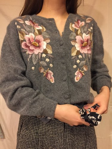 used flower embroidery cardigan