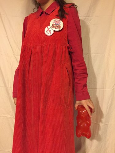 used red corduroy dress