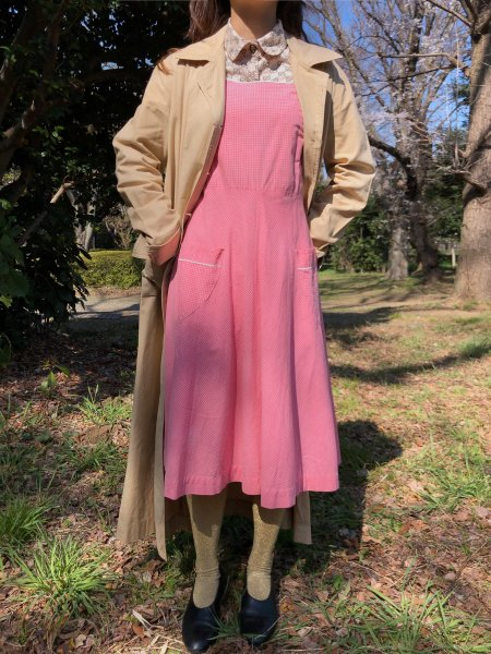 vintage hand made pink gingham check dress