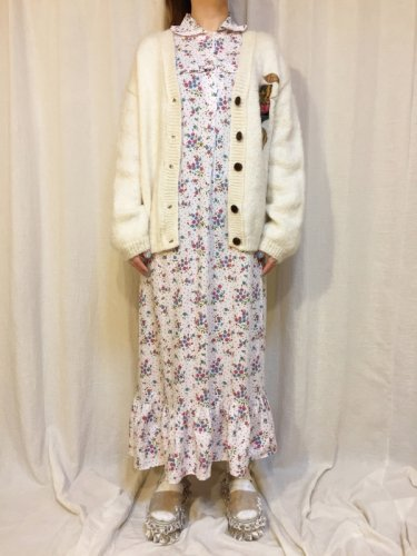 vintage white flower print dress