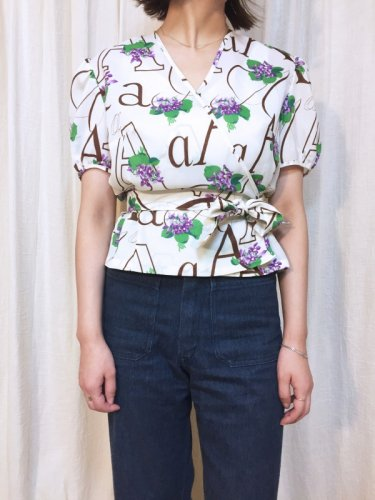 vintage flower print white blouse