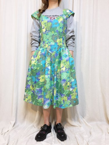 vintage blue green mix dress