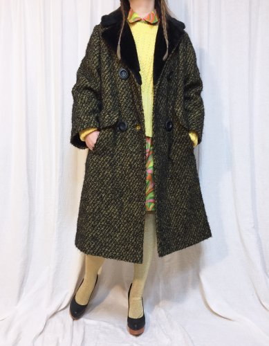 vintage yellow tweed boa coat