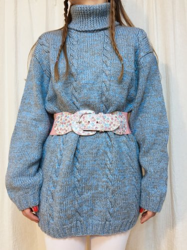 sky blue & gray turtleneck cable sweater