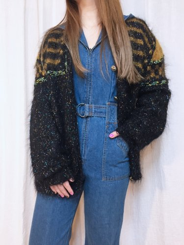 <img class='new_mark_img1' src='https://img.shop-pro.jp/img/new/icons34.gif' style='border:none;display:inline;margin:0px;padding:0px;width:auto;' />vintage black glitter mohair cardigan