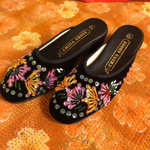 colorful bead embroidery china sandals