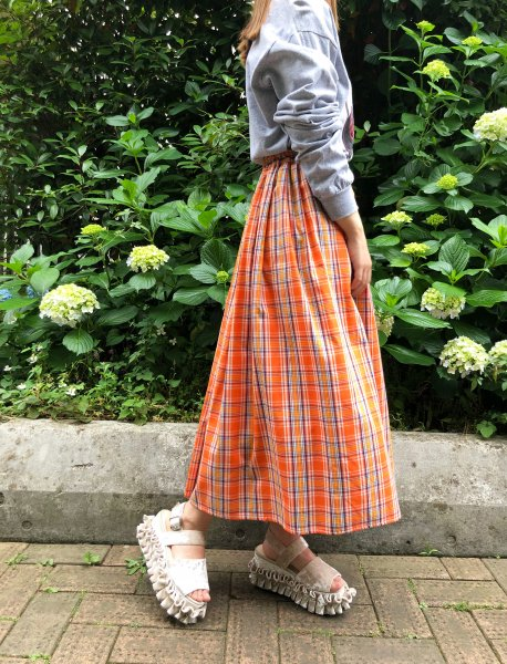 orange check gathered skirt