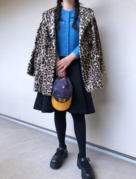 60's leopard fake fur coat