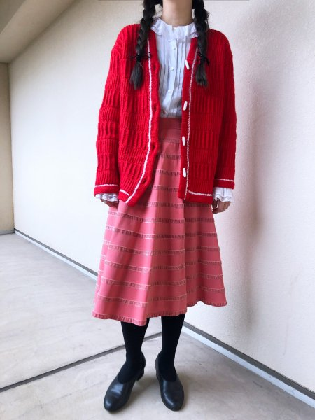 hand made red knit cardigan