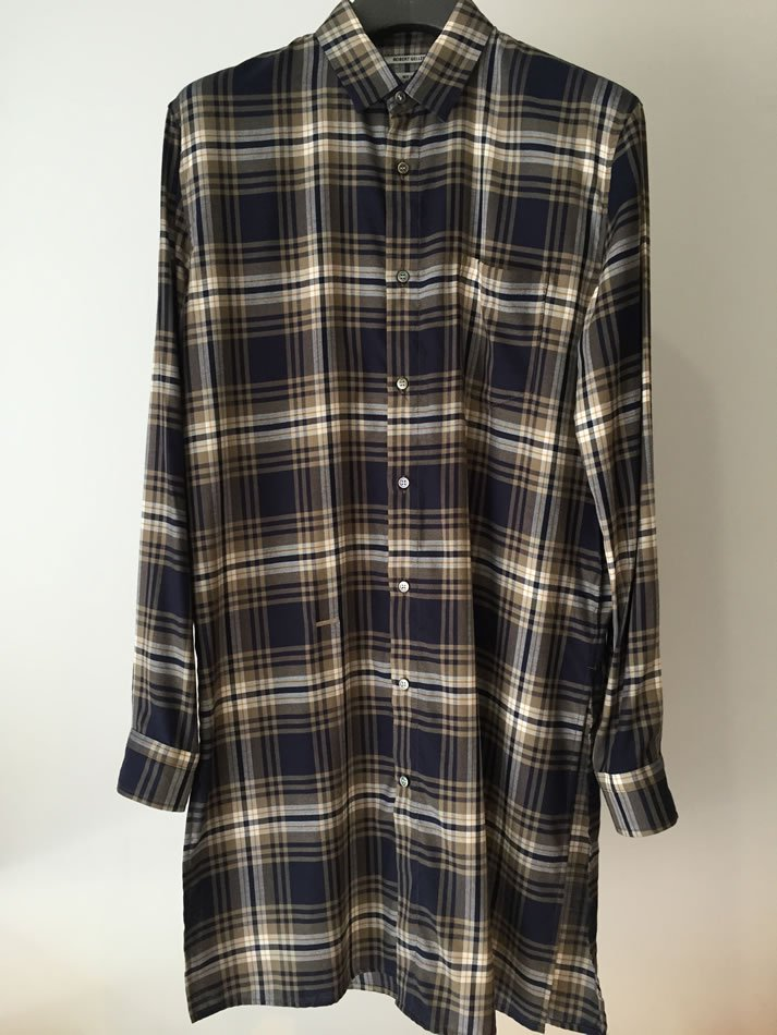 CHECK LONG SHIRT Navy×Yellow 44<img class='new_mark_img2' src='//img.shop-pro.jp/img/new/icons47.gif' style='border:none;display:inline;margin:0px;padding:0px;width:auto;' />