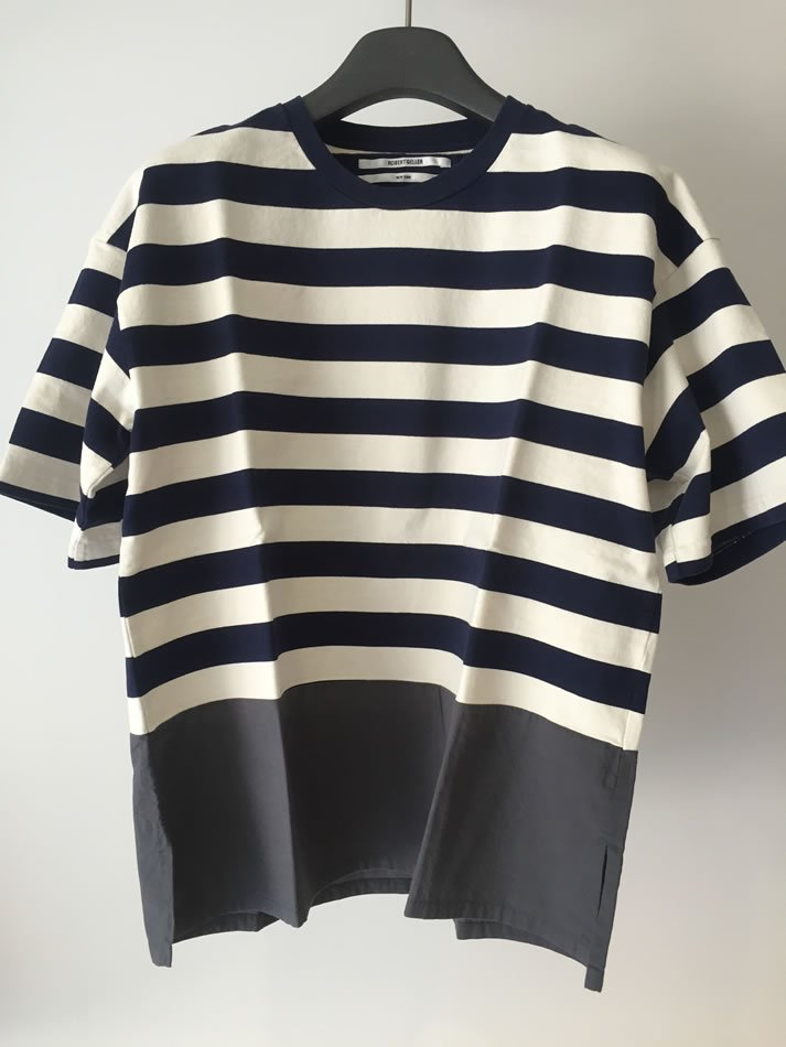 BORDER T-SHIRT WITH SHIRTING Navy×White<img class='new_mark_img2' src='//img.shop-pro.jp/img/new/icons47.gif' style='border:none;display:inline;margin:0px;padding:0px;width:auto;' />