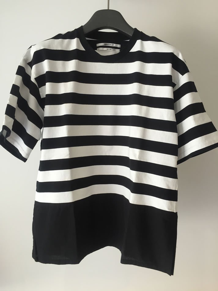 BORDER T-SHIRT WITH SHIRTING Black×White<img class='new_mark_img2' src='//img.shop-pro.jp/img/new/icons47.gif' style='border:none;display:inline;margin:0px;padding:0px;width:auto;' />