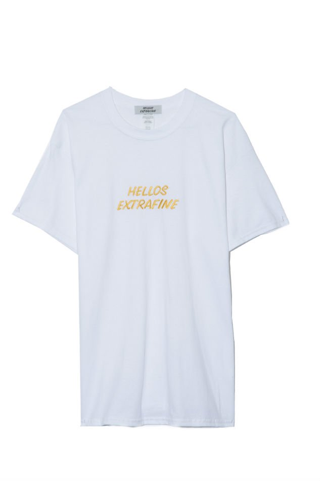 HELLOS EXTRAFINE<br />Logo crew neck H/S T shirt Smooth Colour Series White/Yellow<img class='new_mark_img2' src='//img.shop-pro.jp/img/new/icons47.gif' style='border:none;display:inline;margin:0px;padding:0px;width:auto;' />