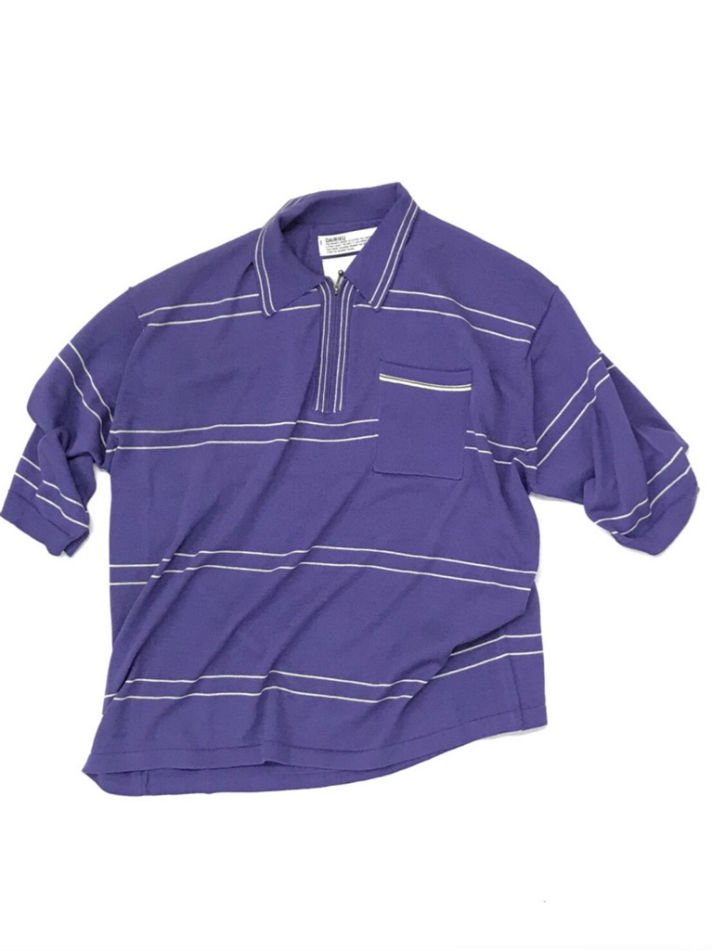 DAIRIKU<br />Half Zip Border Polo Knit PURPLE<img class='new_mark_img2' src='//img.shop-pro.jp/img/new/icons47.gif' style='border:none;display:inline;margin:0px;padding:0px;width:auto;' />