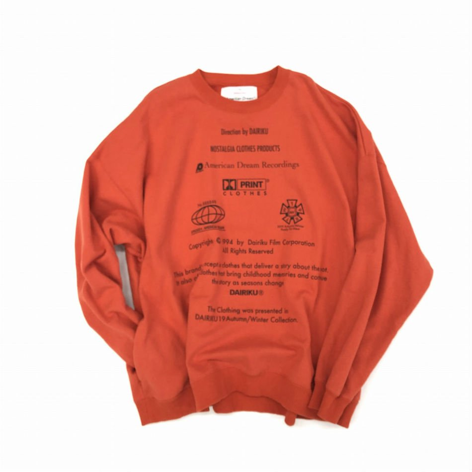 DAIRIKU<br />END ROLL Vintage Wash Sweater Orange<img class='new_mark_img2' src='//img.shop-pro.jp/img/new/icons14.gif' style='border:none;display:inline;margin:0px;padding:0px;width:auto;' />