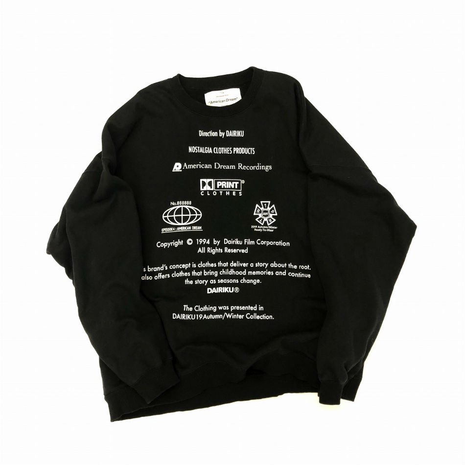 DAIRIKU<br />END ROLL Vintage Wash Sweater Black<img class='new_mark_img2' src='//img.shop-pro.jp/img/new/icons47.gif' style='border:none;display:inline;margin:0px;padding:0px;width:auto;' />