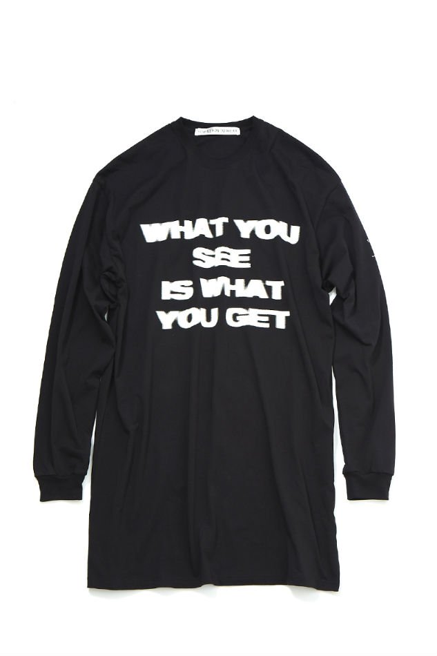 soe<br />L/S Long T-Shirt WHAT YOU SEE IS WHAT YOU GET / BLACK<img class='new_mark_img2' src='https://img.shop-pro.jp/img/new/icons47.gif' style='border:none;display:inline;margin:0px;padding:0px;width:auto;' />