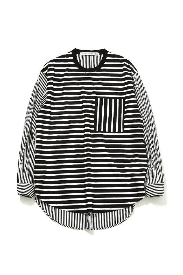 soe<br />Thomas Mason Multi Fabric Shirt Border and Stripe / BLACK<img class='new_mark_img2' src='https://img.shop-pro.jp/img/new/icons47.gif' style='border:none;display:inline;margin:0px;padding:0px;width:auto;' />